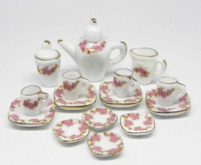 "Dollhouse Miniature ""Dresden Rose"" Tea Set in Porcelain"