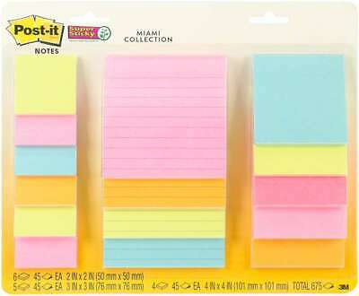 Post-it Super Sticky Notes Assorted Sizes 15pkg Miami 2x2 3x 076308907419
