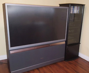 Toshiba 65 inch HD rear projection TV and A/V stand