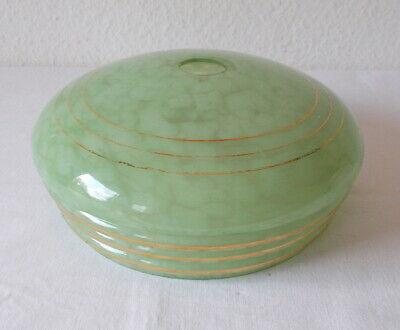 Art Deko Lampenschirm aus hellgrünem Glas, ca. 22 cm