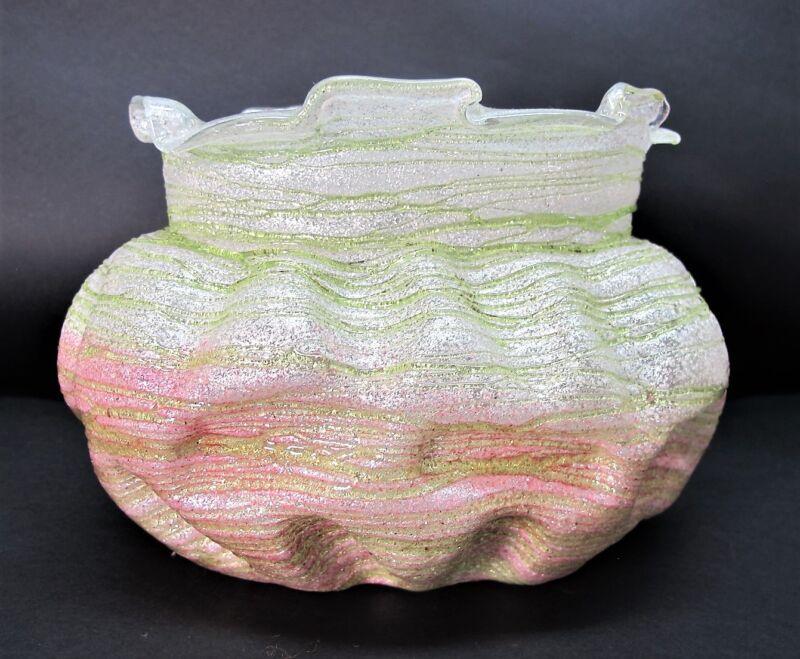 Rare WILHELM KRALIK SILVERIA Art Nouveau Glass Center Bowl  c. 1905  Bohemian