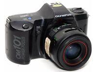 Olympus OM 101 Power Focus 35mm Film SLR Camera with Case & 3 Lenses