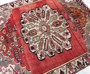 Semi-Antique persian Rug,Wool,Handmade , 6.9 x 5.6 ft,Red,Gold,G