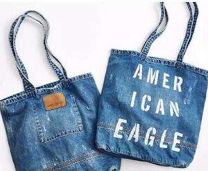 American Eagle Blue Denim Tote Bag NEW!