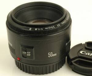Canon EF 50mm f1.8 Mark II lens with Hood