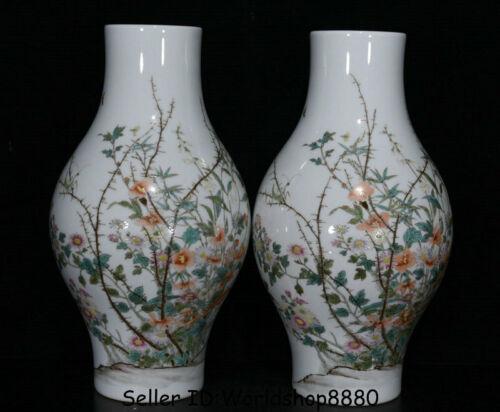 """13.2"""" Qianlong Marked China Palace Famile Rose Porcelain Flower Bottle Vase Pair"""
