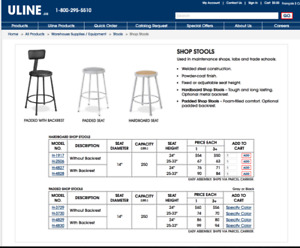 ULINE SHOP STOOL - gently used. $40 ($95+ tax new)
