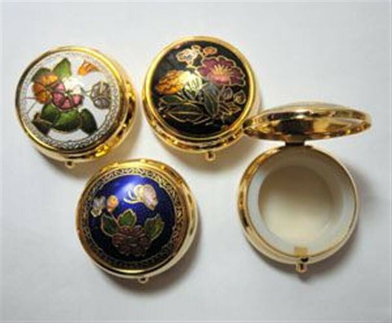 "Cloisonne Enamel Round Hinged Pill Box 1 1/2"" x 3/4"" New ONE (1) Vintage 1980"