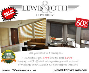 Blinds, Shades & Shutters- 60% OFF **LOWEST PRICE GUARANTEED**