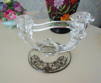 Vintage Double Glass Candle Holder - Flower / Leaf Design City of Montréal Greater Montréal Preview