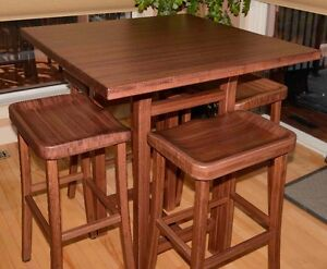 Table and Four Stools (bar height) Hardwood Bamboo