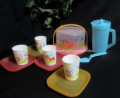 Tupperware NEW Mini Party Super Hero Animals Cake Set Kids Plates Pitcher Cups