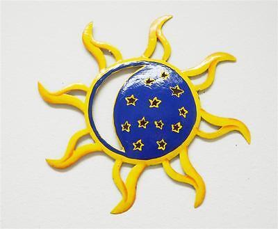 "OUTDOOR 13"" HAITIAN SUN, MOON, AND STARS WALL HANGING METAL ART DECOR"