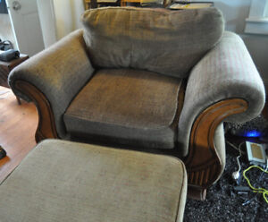 big comfy armchair and footstool