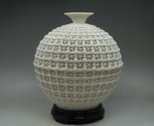 Collectibles Elegant Decorated Handwork Porcelain Carving Hollow Out Vase