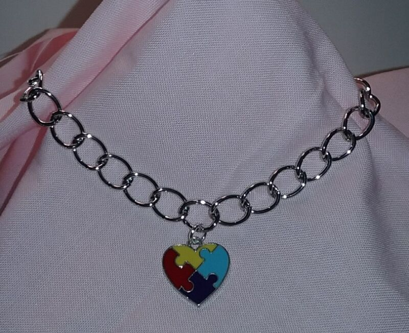 Autism Awareness Silver Chain Bracelet with Puzzle Heart Charm
