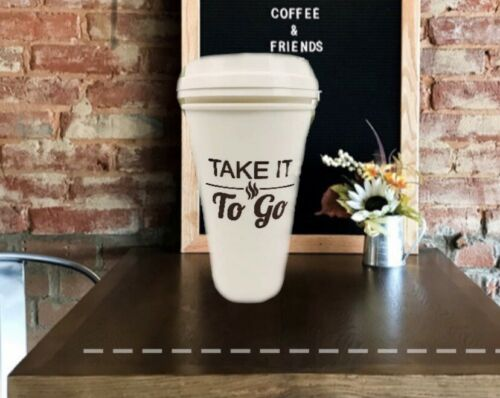 2 Pack -Take It To Go Plastic Coffee Cups- Portable Coffee C