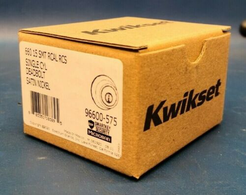 Brand New, Kwikset Single Cyl Deadbolt SmartKey Satin Nickel 96600-575.