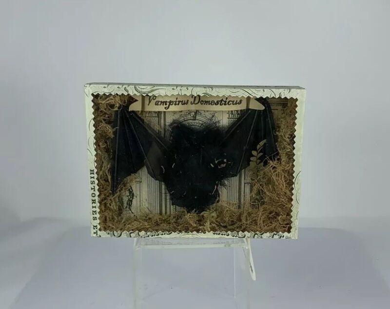 Wendy Addison Shadow Box With Bat, Halloween Decoration