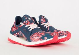 Adidas PureBoost X Running shoes - Minearal Blue Halo Pink Floral Size UK 4.5