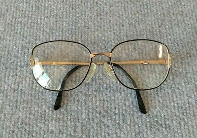 VINTAGE 80'S GUCCI GOLD BLACK OVAL METAL FULL RIM GLASSES