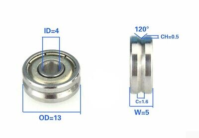 4mm Bore Bearing With 13mm Pulley V Groove Track Roller Bearing 4x13x5mm