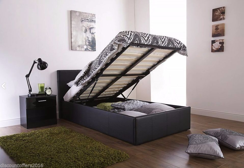 **Same Day Fast Delivery**BRAND NEW-Double Ottoman Storage Leather Bed With Economy-Sprung Mattress