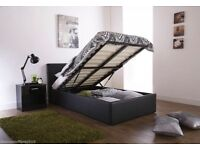 BLACK BROWN OR WHITE! NEW DOUBLE OR KING LEATHER STORAGE BEDS WITH DEEP QUILT MATTRESS