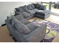 BRAND NEW GREY DYLAN JUMBO CORD CORNER OR 3+2 SEATER SOFA AVAILABLE IN STOCK