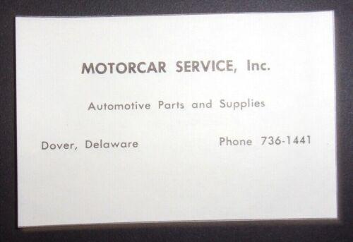 1962 Motorcar Service Inc. Advertisement Dover, Delaware