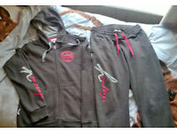 Womens Henleys Grey & Pink Logo Size 12 Tracksuit, Hoodie & Bottoms