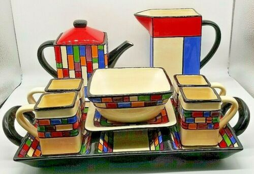 Art Deco Modern PACIFIC RIM Divided Tray Teapot Pitcher Cups Serving Dish & Bowl