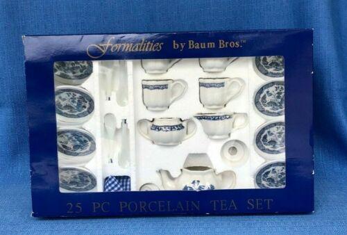 RARE Vintage Tea Set Blue Willow Formalities By Baum Bros 25pc.
