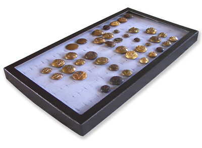 1 Glass Display Case Box Gray for 72 Victorian British French US WW1 WW2 Button