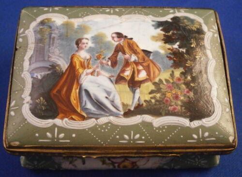 Antique 18thC Staffordshire Scenic Enamel Snuff Box Bilston Battersea English