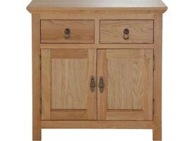 Knightsbridge 2 Door 2 Drawer Mini Sideboard - Oak/ Oak Veneer
