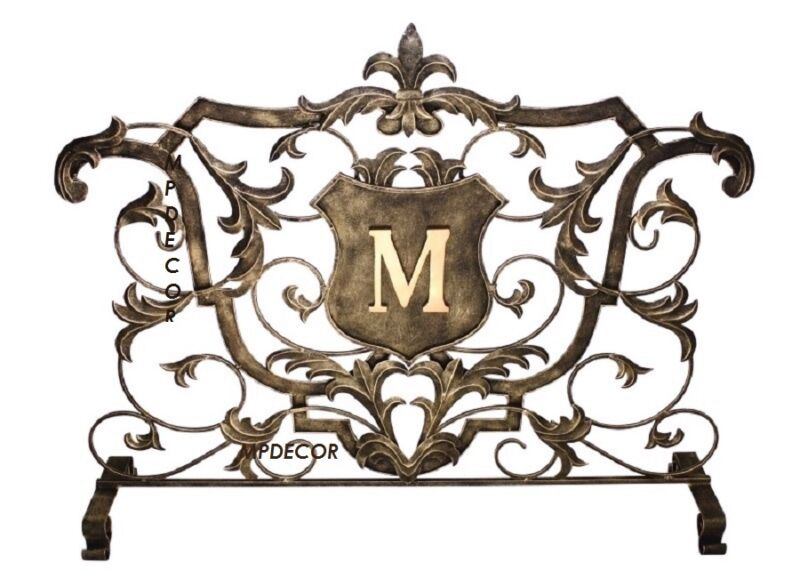 Fleur De Lis Monogram Shield Acanthus Leaf Fireplace Fire Screen French Tuscan