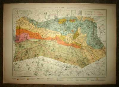 Plan antique card geographic from 9 and 10th, IX and x district de Paris