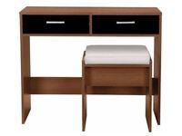 New Sywell Dressing Table & Stool - Walnut & Black Gloss