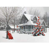 Winter Snowy Christmas House White with Red Accents