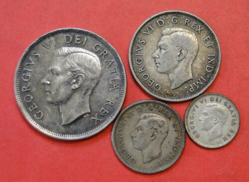 COLLECTION OF 4 VINTAGE SILVER CANADIAN COINS ~ DOLLAR, HALF, QUARTER, DIME