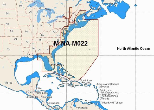 CMAP W NT Max Mnam Wide Area Chart Ccard USA East Coast - Map usa bahamas