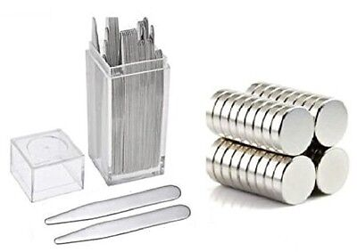 "20 Metal Collar Stays 2.5"" + 10 Magnets For Men Shirts In Clear Plastic Box"