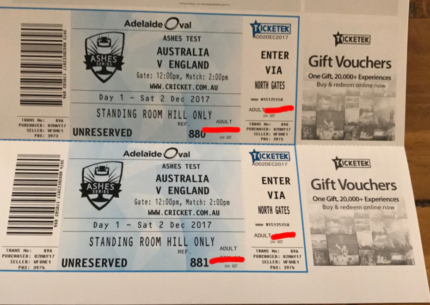 Ashes Cricket Tickets Adelaide Test Dec 2017