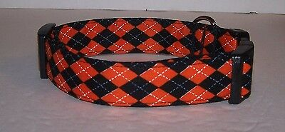 Wet Nose Designs Colorful Black and Orange Halloween Argyle Dog Collar - Halloween Colors Orange And Black