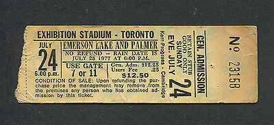 1977 Emerson Lake & Palmer concert ticket stub Toronto Brain Salad Surgery