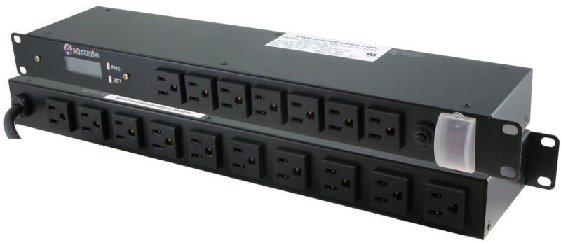 15Amp 17 OUTLET w/BUILT-IN POWER METER 19 INCH RACK MOUNT POWER STRIP PDU BAR