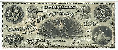 Maryland Cumberland Allegany County Bank  2 1861 G4a Horse At Stream  260 Gift