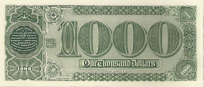 Proof Print by the BEP - Back of $1000 Treasury/Coin Note of 1890