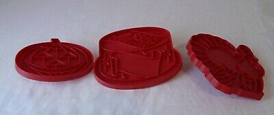 Vintage Mix Red Plastic Cookie Cutters Lot of 3 Halloween Birthday Cake Turkey - Cake Mix Cookies Halloween